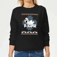 Frozen Olaf and Snowmen Women's Christmas Sweatshirt - Black - 4XL - Black